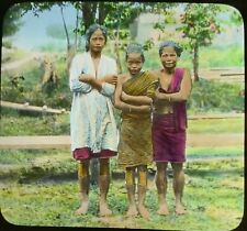 Magic Lantern Glass Slide Java 3 Native Woman village life Malaysia Javanese