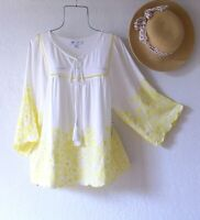 New~White Yellow Embroidered Peasant Blouse Shirt Spring Boho Top~Size Medium M