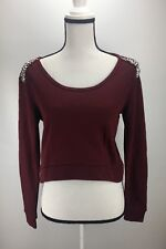 H.I.P. Knit Sweater Top XS Small Crop Embellished Scoop Neck Long Sleeve #J125