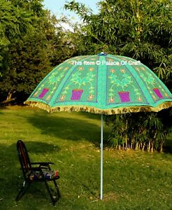 Indian Garden Umbrella Floral Cotton Embroidery Work Sun Shade Umbrella Outdoor