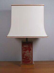 Lampe carrée métal laqué rouge doré abat-jour pagode 1970 DLG Jean-Claude MAHEY