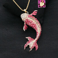 Betsey Johnson Enamel Crystal Big Goldfish Pendant Sweater Chain Necklace