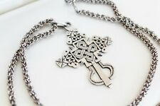 RARE Vintage Carved STERLING SILVER Celtic Cross Chain Pendant NECKLACE 28 g