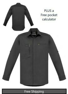 Mens Streetworx L/S Stretch Work/casual Shirt-Charcoal-PLUS free Calculator