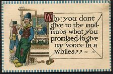 C1910 Cartoon - Dutch in Traditional Costume 'Why you don't give the mail to...'