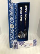 Travel Camping Flower Printed Ceramic Handle Spoon Fork Cutlery Set White Blue