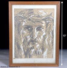 VTG Christian Jesus Christ Pencil Drawing Charcoal Portrait Signed Hungarian '60