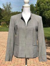 Womens TALBOTS 12P Grey Jacket Blazer Zip Front Stretch