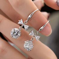 Cute Round White Sapphire Star Bow Drop Dangle Earrings 925 Silver Wedding Gifts