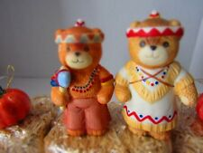 Enesco Lucy & Me Bears Thanksgiving Brave W/ Tomahawk & Squaw W/Baby And Papoose