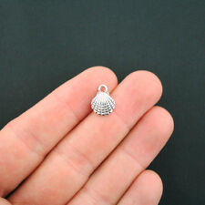 Bulk 60 Seashell Charms Antique Silver Tone 2 Sided 3D Clam Shell - Sc1143