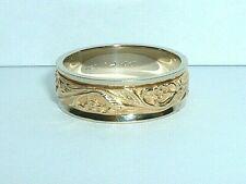 14K YELLOW & WHITE GOLD FANCY MEN'S WEDDING BAND RING size 10.50
