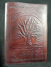 Refillable Handmade A5 Leather Journal - Pagan Wicca TREE of LIFE - Lined Paper