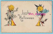 HALLOWEEN Scarecrow Pumpkin JOL Couple ~ NASH Series 8-A ~ Vintage POSTCARD