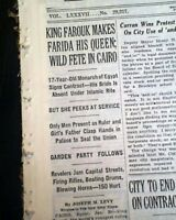 Ruler KING FAROUK OF EGYPT and the Sudan Marries Queen Farida 1938 Newspaper