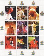 PAPA Giovanni Paolo II Religione Cattolica papale Kirghizistan 1999 Gomma integra, non linguellato FRANCOBOLLO SHEETLET