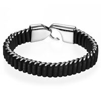 Men Charm Black Braided Leather Stainless Steel Hook Buckle Bracelet Bangle Cuff