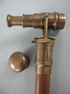 Antique Brass Walking Telescope Handle Cane Brass Wood Stick Folding Hidden Spy