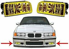Pair of YELLOW fog lights foglights BMW E36 saloon coupe convertible touring