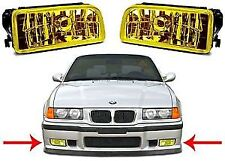 Pair YELLOW glass fog lights foglights BMW E36 saloon coupe convertible touring