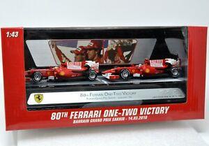 Hot Wheels Racing Ferrari F10 - Set de Alonso / Masa GP Bahrain 2010 V7423 1/43