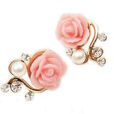 Delicate Pink Rose Flower Gorgeous Crystal Rhinestone Pearl Stud Earrings M