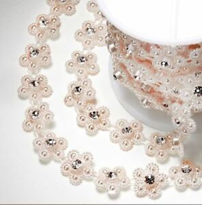 ROSE GOLD COLOURED PEARL DAISY WITH DIAMANTE CENTRE 15mm x 5m RIBBON CRAFT