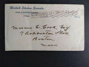 Free Frank: Henry Cabot Lodge 1897 US Senate Cover, Massachusetts Senator