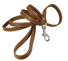 Genuine Thick Leather Classic Dog Leash 1/2 Wide 6 Ft, Small Breeds NEW-Free S/H