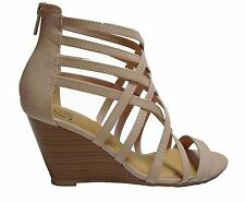 Black Tan Beige Blush Wedge Gladiator Caged Heels Sandals Booties Shoes runs W