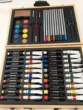 Wooden Artists Box Of Oil Pastels Soft Pastels Acrylics Paint Watersoluble...