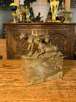 Genuine Art Deco Bronze Of Big Cats On Marble Base Signed By 'Christophe Fratin'