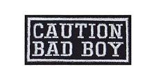 Caution Bad Boy Heavy Rocker Patch Aufnäher Kutte Bügelbild Motorrad Badge Stick