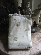 WAVERLY RUFFLED WITH YELLOW ROSES & BLUE PIPING TWIN FLAT SHEET
