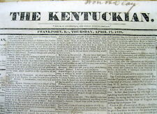 1828 Frankfort KENTUCKY newspaper  SLAVE for SALE AD owned by Senator HENRY CLAY