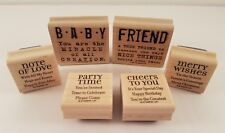 Lot of 6 Rubber Stamps Word & Saying Theme Craft Scrapbook Card Making