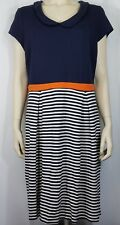 Boden blue white orange striped casual short sleeve dress ladies womens 16 L
