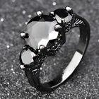 Black Sapphire Engagement Rings 10Kt Black Gold Filled Men's Jewellery Size 6-10