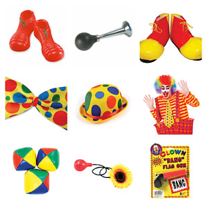 FUNNY CIRCUS CLOWN ACCESSORIES WIGS SHOES HORN TIE HAT HONKING NOSE BOWLER