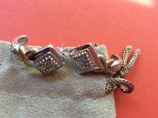 JTV solid 925 Sterling silver J-hoop diamond earrings 8.7 grams no scrap