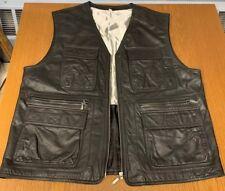 Mens Echtes Leder Black Genuine Leather Motorcycle Biker Biker Sz 56 Zip Pockets