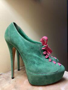 New Casadei Made Italy Suede Platform High Heels Stilettos Shoes Pumps 9 Luxury