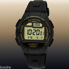 Casio W734-9AV 60 Lap Memory World Time Pace 5 Alarms Watch 10 Year Battery New