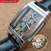Mens Silver Bridge Manual Mechanical Watch - Black Leather DIASTERIA 1688