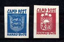Hanau Camp Post 24+76 Pf Stamps Estonian And Latvian Arms 1945 For DP Survivors