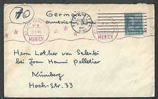 1947 COVER PREXY 5c #810 SINGLE FRANKING TO GERMANY SCARCE