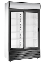 More details for commercial double sliding 2 door display bottle cooler large tall merchandiser