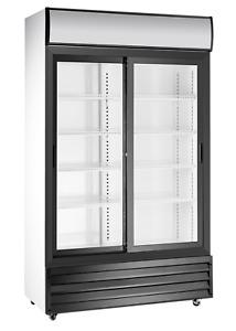 Commercial Double Sliding 2 Door Display Bottle Cooler Large Tall Merchandiser