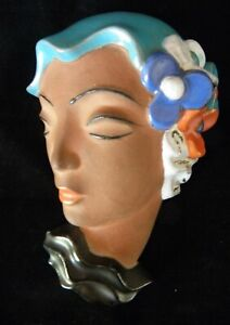 Art Deco Enamel on Terracotta Face Mask  No. 200 -  c.1930s Germany