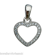 "18Carat White Gold & Diamond Open Heart Pendant 0.15 carats & 16"" Chain Necklace"